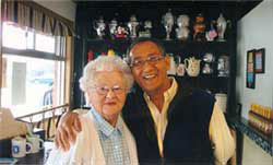 Gordon with a long-time customer and friend