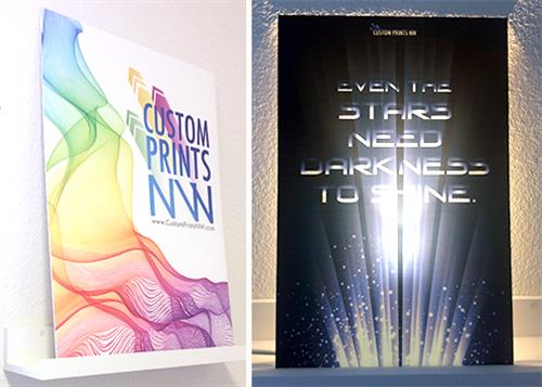 We offer full color printed signs on a variety of substrates. Shown here is PVC and transparent Polycarbonate