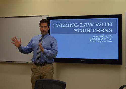 "Attorney Ryan Witt doing a ""Talking Law With Your Teens"" presentation."