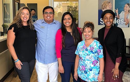 L-R: Lindsay E, DMO; Marco G, OM; Dr. Richa Mehta, DMD; Jeanette S, DA; Alesia M, PCC