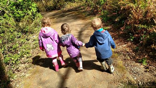 Curious by Nature Students in their outdoor classroom