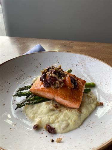 Wild Line-Caught Coho Salmon with olive tapenade, asparagus, and parsnip-potato puree