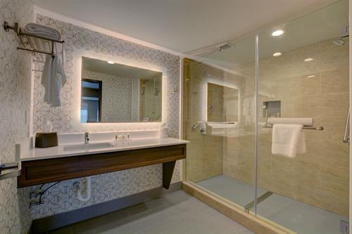 Guest Bathroom with lighted mirrors
