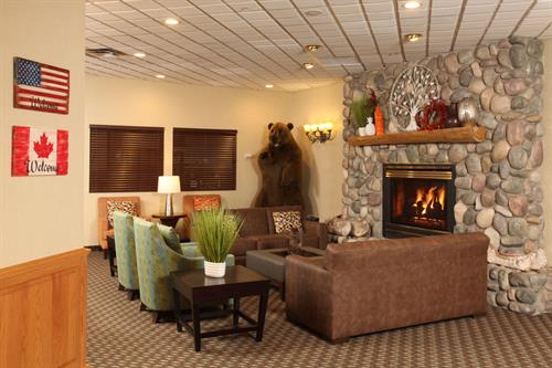 Relax by the fire in our cozy lobby