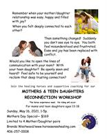 Mother/Teen Daughter Workshop Registration Open