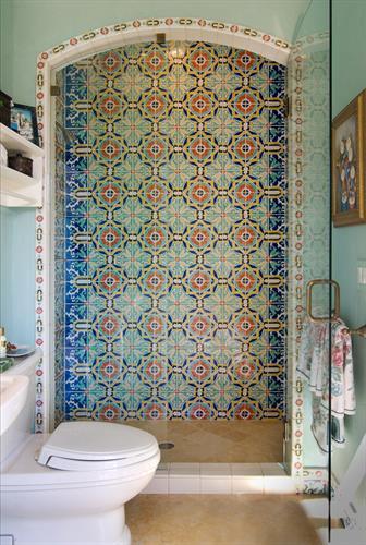 hand painted tile bathroom