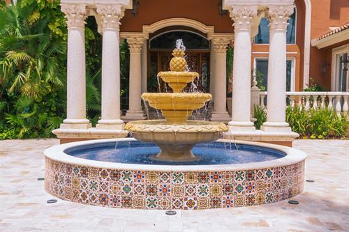 hand painted tile fountain