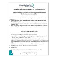 Sampling Collection Sites Open for COVID-19 Testing