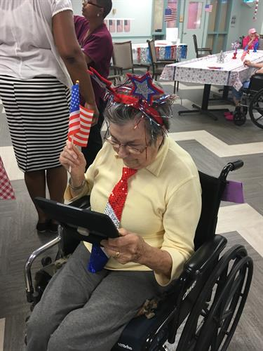 Ipad program.  One of our residents facetiming with her daughter who lives out of state.