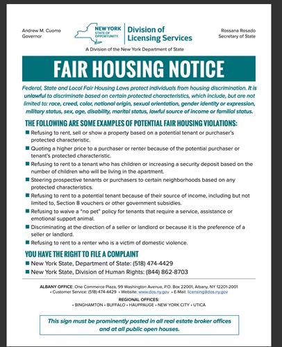 NYS Fair Housing Notice