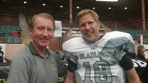 Dr. Eric wigh the Mayor at one of the Duke City Gladiators Game
