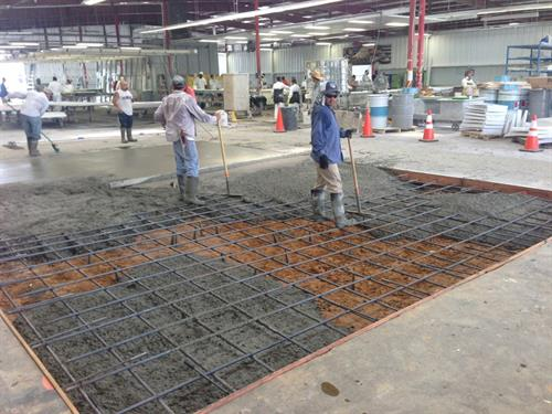 Concrete pad addition in industrial facility