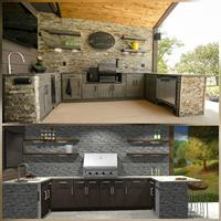 Outdoor Kitchen 3D Rendering along with the Finished Space