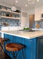 Blue and White Kitchen with Cement Tile Backsplash and Open Shelving, Abilene
