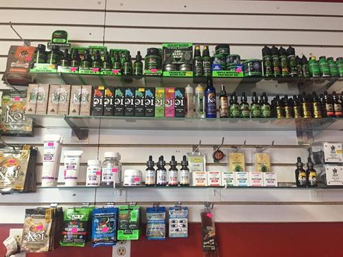 Large selection of CBD products.