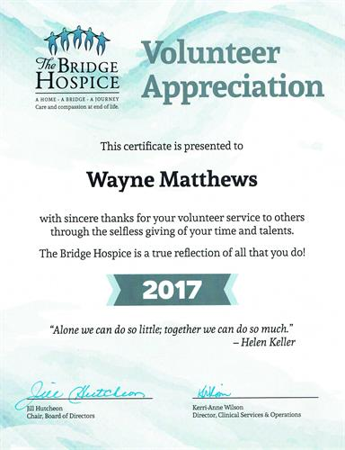 Bridge Hospice Volunteer Appreciation