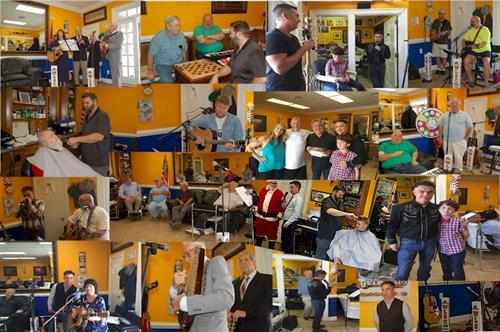 Collage of photos from Down at the Barbershop