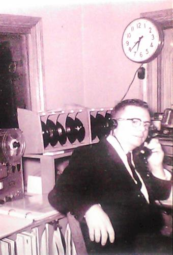 A classic photo of my great uncle, Atlas.  The first member of my family to work in radio.