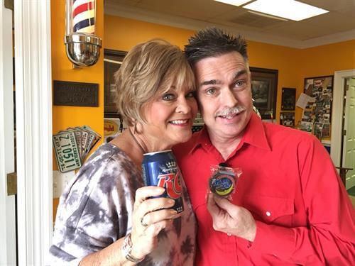 Jack and Diane DeVaughn-Stokes at the barbershop.