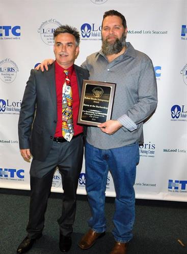 Jason Porter presents Jack with 2018 Entrepreneur of the Year Award