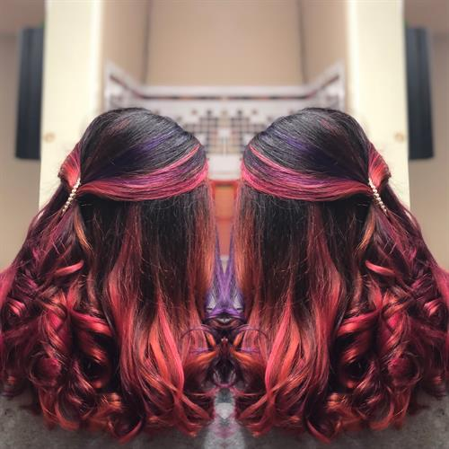 A contestant for the Pulp Riot #fallintotheriot contest, 5 hours later, and we have our masterpiece. Vivid colors from me are charged at an hourly rate to make it fair for everyone. This rate includes, lightening, haircut, toning, conditioning treatments, any color(s) of your choice, blow out, and style.