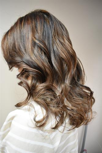 A natural highlight to break the darkness in this guests hair.