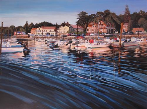 """Golden Radiance over Stony Creek Harbor"", 36"" x 48"", acrylics by Linda S. Marino"