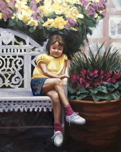 """My Flower Girl"", 16 x 20"" oil, by Linda S. Marino"