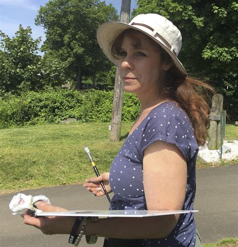 Linda Marino painting on location in Branford