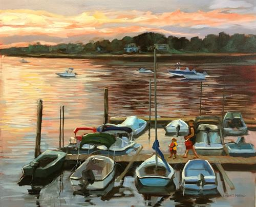 """Little Skipper's Sunset Sail"", 18 x 24"" oil, by Linda S. Marino"