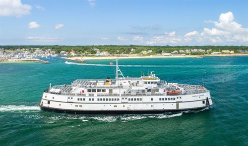 Martha's Vineyard ferry in Oak Bluffs Harbor - from Woods Hole to Martha's Vineyard Island