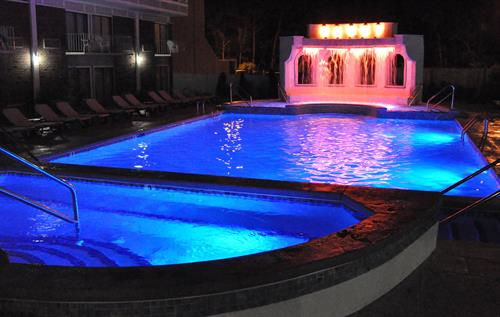 Year round, Outdoor Heated Pool and Whirlpool at night