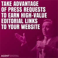 Press request alerts are requests for sources of information from Journalists. Great for earning high-value #links back to your #website. Popular press request alert services include: SourceBottle, Cision, Muck Rack and ResponseSource #seotips #seo #digital #webdesign #askagentdigital https://www.agent.media/digital/