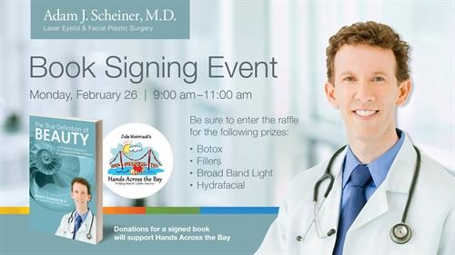 Dr. Scheiner Gives Back to our Community!  All Book Signing Proceeds goes to Hands Across the Bay.