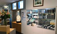 Our reception area and large, medical grade skin care display