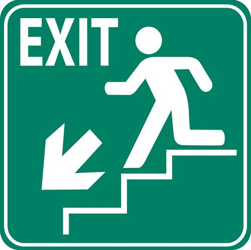 Example New York Running man staircase exit sign