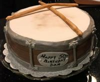 Old Snare Drum shaped carrot cake