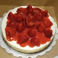 Strawberry Cheesecake...fresh strawberries with a strawberry rose and a fresh sauce