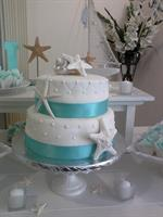 Beach themed small wedding cake
