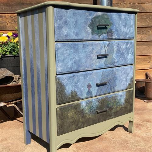 Custom painting on found, quality, furniture.