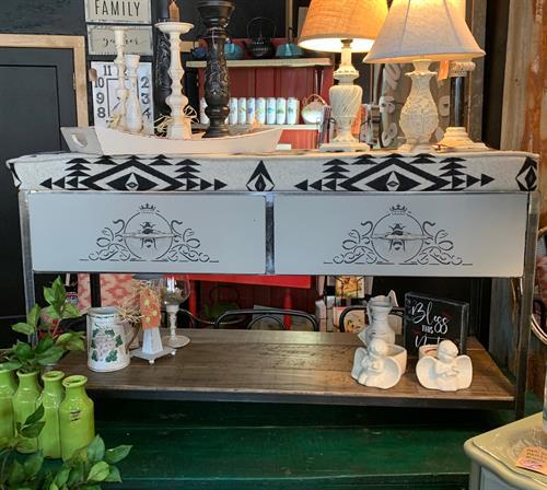 Custom made bench, made locally.  Iron/barnwood & Pendleton wool.  Made to order decor.