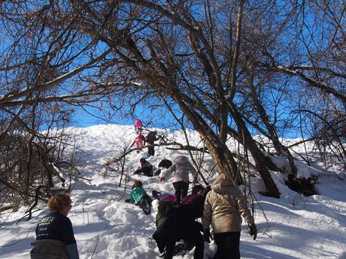 Students on a snowshoeing adventure.  Promontory uses adventure activities to challenge students and help them learn they can accomplish more than they ever thought possible.