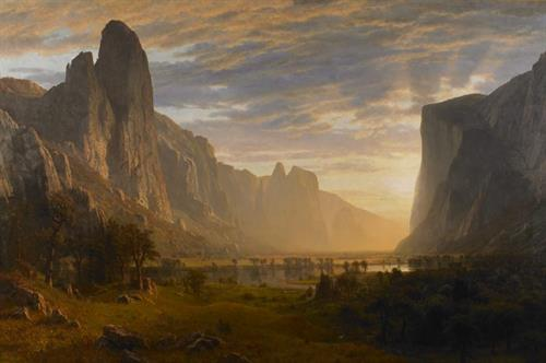 """Looking Down Yosemite Valley, California"" by Albert Bierstadt (German, 1830-1902)"