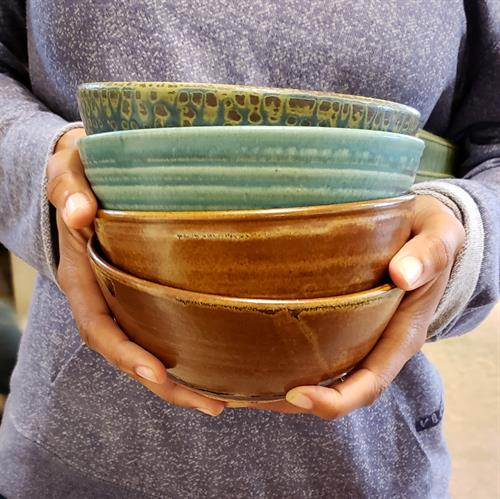 Stackable bowls in a variety of glazes