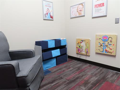 Private space for kids to play, and moms to nurse.