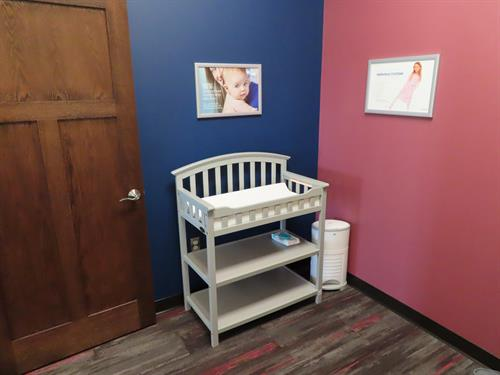 We even have a changing table for when babies do their business after adjustments!