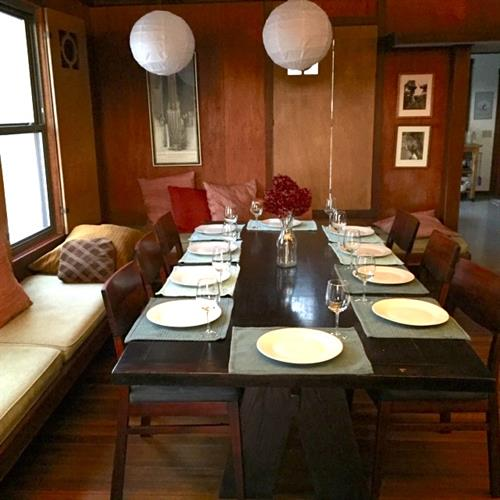 Large dining table seats ten