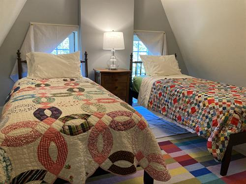 Second bedroom on third floor has two XL twin beds.