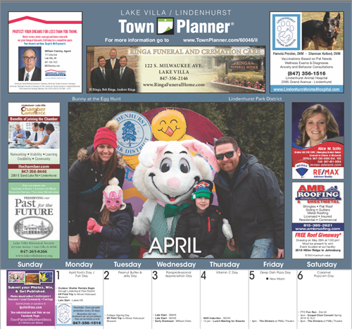 April Calendar - Above the fold