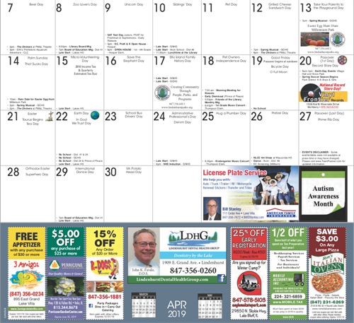 April Calendar - Below the fold